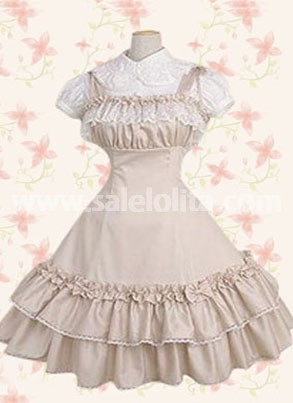 Ivory Short Sleeves Pleated Lace Cotton Classic Lolita Dress