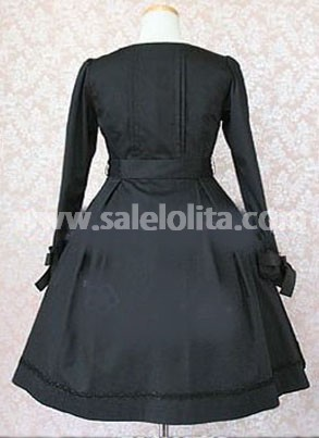 Simple Graceful Black Gothic Lolita Dress with Long Sleeves