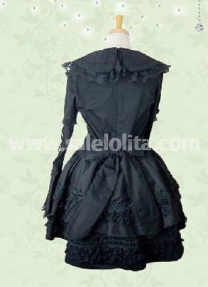 Black Bell Sleeves Cotton Gothic Lolita Dress