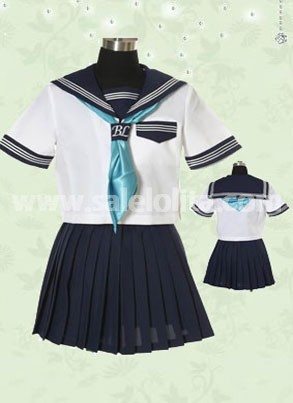 White Cotton Pleated Uniform Lolita Dress