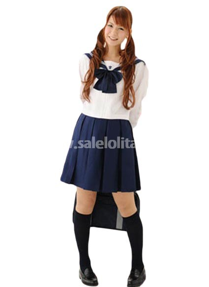 White and Dark Blue School Lolita Suit