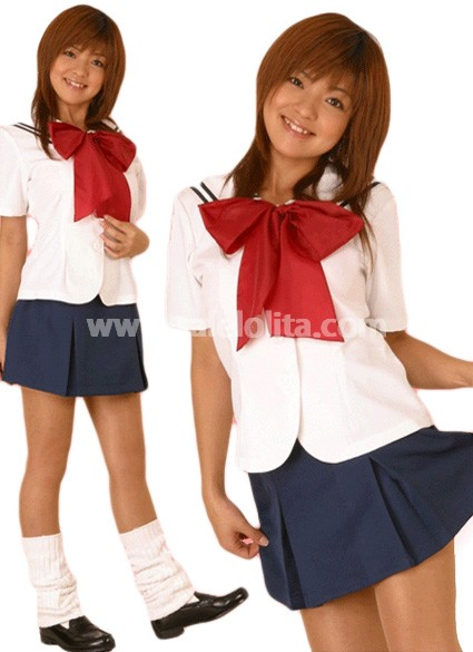 Dark Blue and White Short Sleeves Cotton Lolita Suit