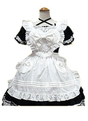White And Black Bow Lace Cotton Cosplay Lolita Dress