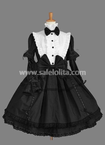Black And White Bow Cotton Gothic Lolita Dress