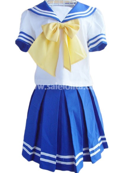 Hot Sale Blue and White School Lolita Suit with Short Sleeves