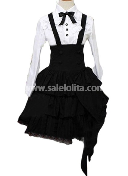Classic Multilayers Black and White Cotton Lolita Suit