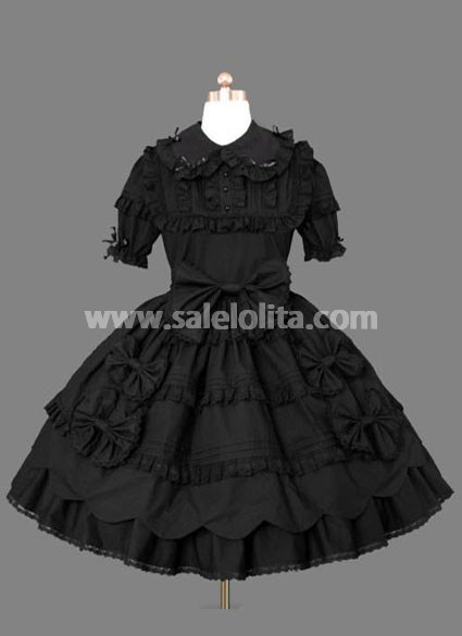 Ruffled Black Gothic Lolita Dress Made of Cotton