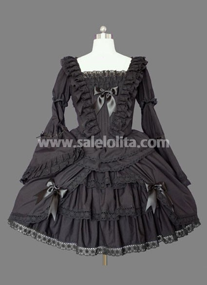 Black Bell Sleeves Multilayer Cotton Gothic Lolita Dress