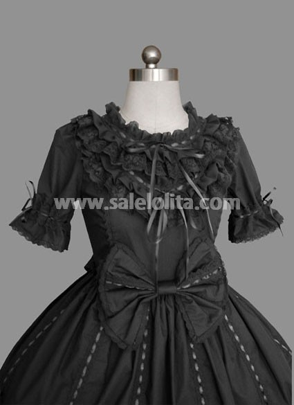 Black Short Sleeves Multilayer Cotton Gothic Lolita Dress