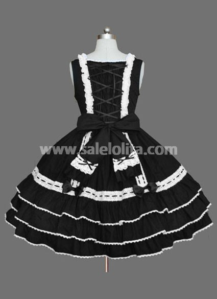 Sleeveless Black and White Lolita Dress