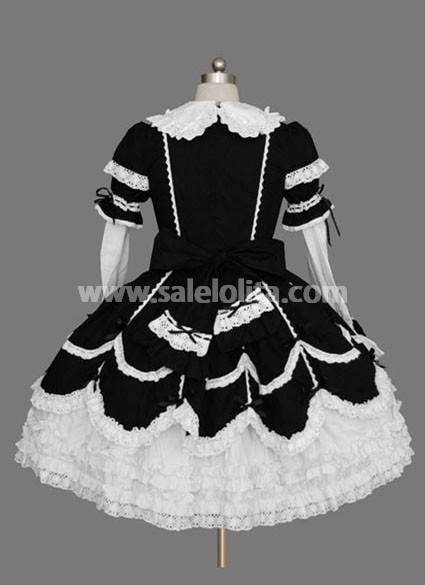 Cheap Beautiful Cotton Black and White Gothic Lolita Dress