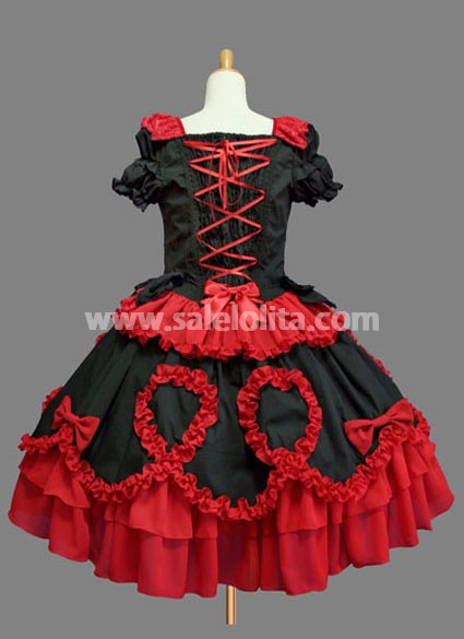 Glamorous Cheap Black and Red Cotton Gothic Lolita Dress Ruffled