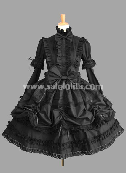 Elegant Pure Black Long Sleeves Gothic Lolita Dress