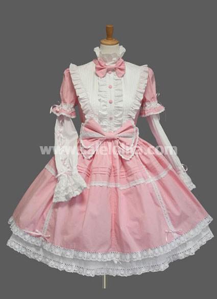 top sale bow long sleeves cotton sweet lolita dress