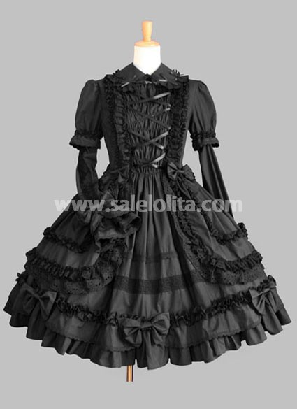 Hot Sale Pure Black Long Sleeves Gothic Lolita Dress