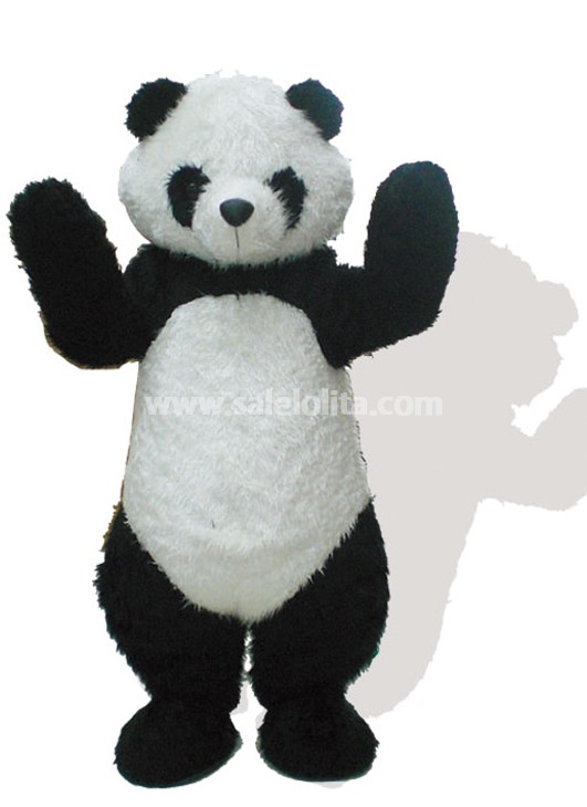 black and white plush panda mascot costume for adult. Black Bedroom Furniture Sets. Home Design Ideas