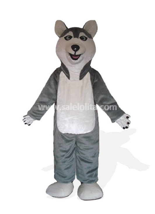 Gray Plush German Shepherd Dog Mascot Costume
