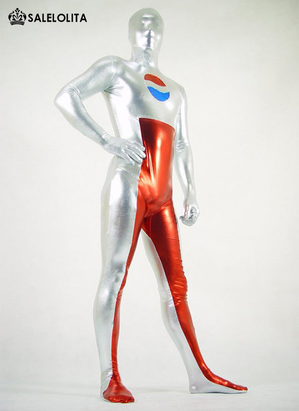High Quality Adult Blue And Silver Shiny Metallic Pepsi Zentai Bodysuit Superhero Halloween Costume