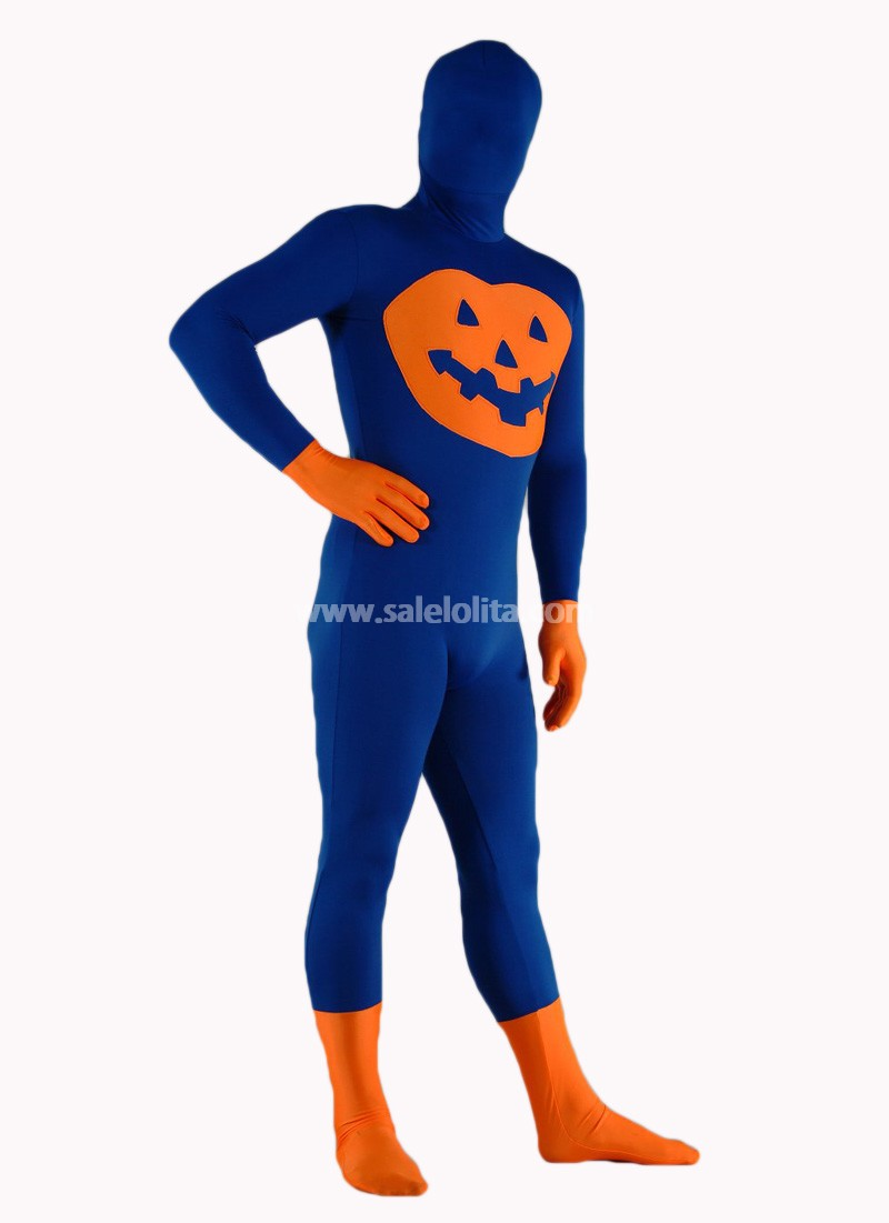 Blue And Orange Lycra Spandex Halloween Casuit