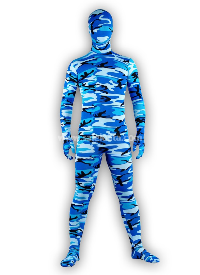 Cool Blue Lycra Spandex Zentai suits