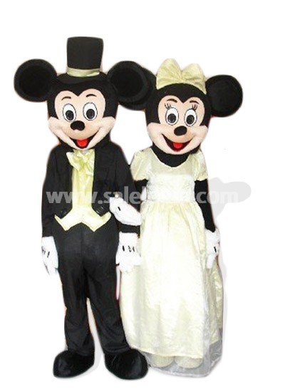 Mickey And Minnie Wedding.Mens Women Mickey And Minnie Wedding Mascot Costume Mouse Cartoon Character Parade Costume