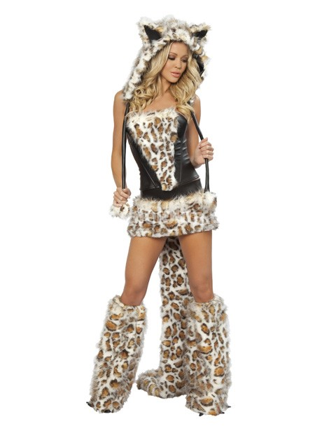 cheap womens sexy leopard halloween animal costumeleopard big tail wolf game uniforms loading