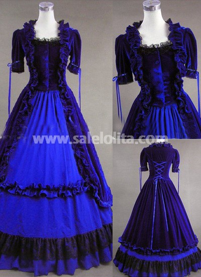 Hot Sale Classic Blue Gothic Victorian Dress