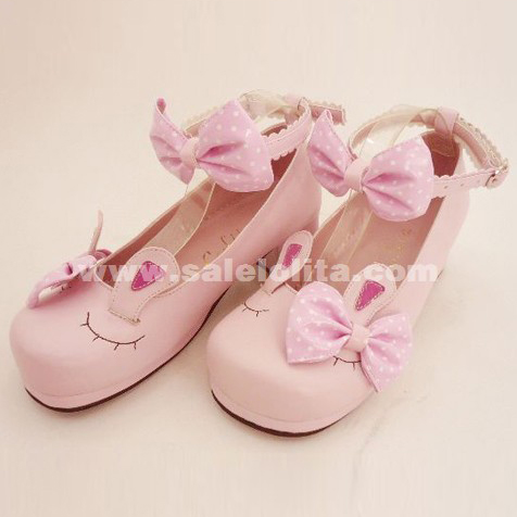Pink rabbit ears baby cos/sd doll cartoon princess lolita shoes