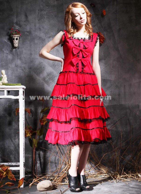 Popular Gothic Multilayered Red Sleeveless Cotton Lolita Dress