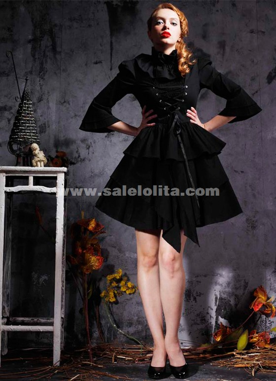 Stylish long-sleeved cotton former band Lolita dress