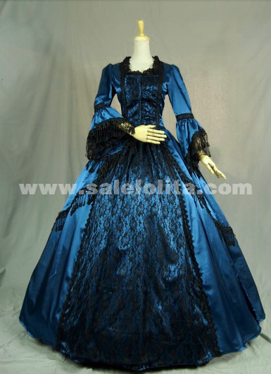 New Arrival Elegant blue prom dress long-sleeved Victorian Civil War ...