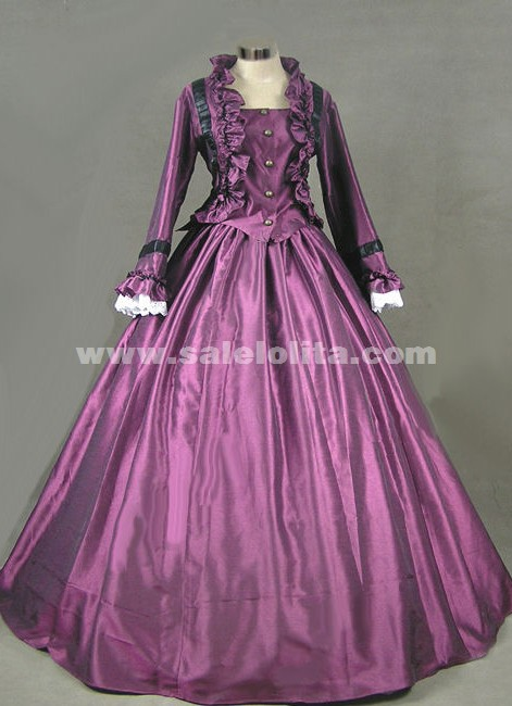 Purple petal collar long-sleeved Gothic Victorian prom dress ...