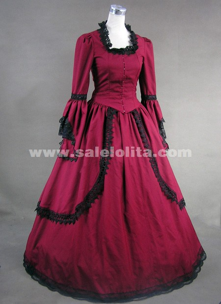 Brand New Red Cotton Lace Victorian Dress,Medieval Renaissance Gothic Victorian Ball Gown For Women 2018