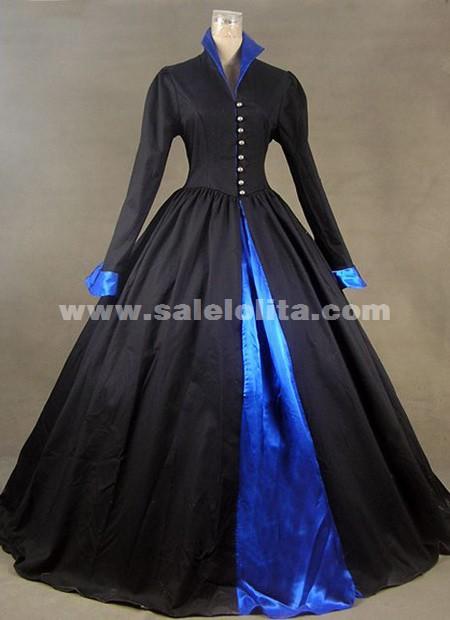 2016 Brand Fashion Black Long Sleeves Victorian Civil War
