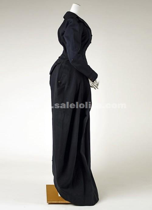 Hot Sale Black Long Sleeves Medieval Renaissance Victorian Bustle ...