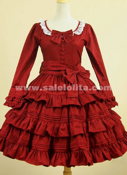 2016 Brand Fashion Elegant red long-sleeved Gothic Lolita dress,Gothic Clothing For Women