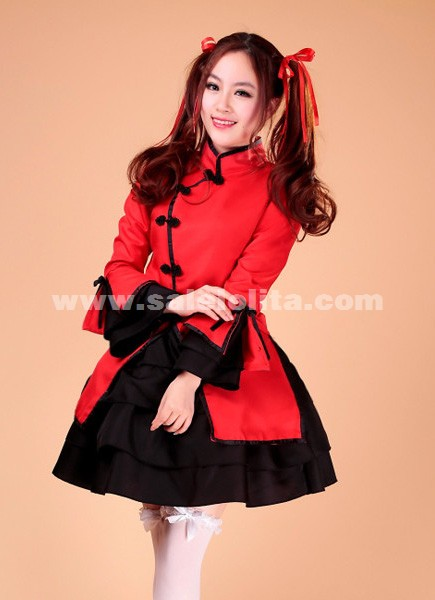 Fashion Women's Sweet and cute red and black sexy maid dress,cheap maids uniforms for sale 2018