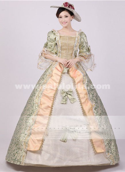 Noble Green Print Royal Palace Marie Antoinette Civil War Medieval Renaissance Victorian Ball Gown CostumeSouthern Belle Ball Dress  sc 1 st  Salelolita.com : belle gown costume  - Germanpascual.Com