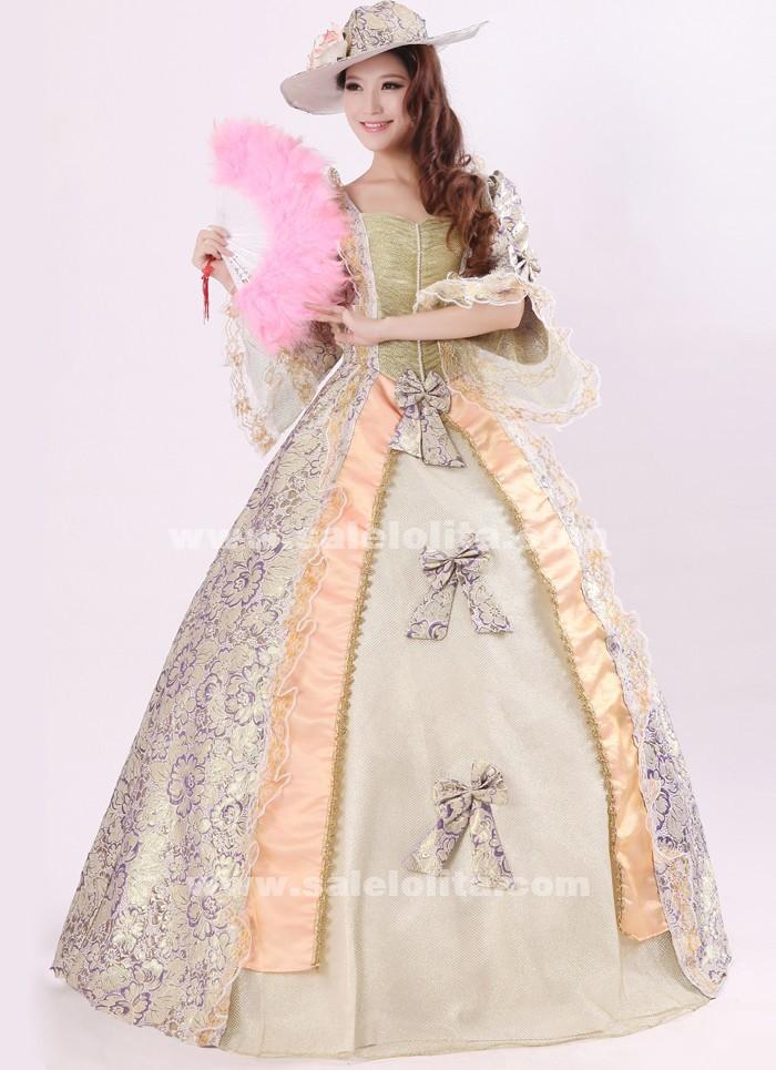 Noble Purple Print Royal Palace Marie Antoinette Dress, Civil War ...
