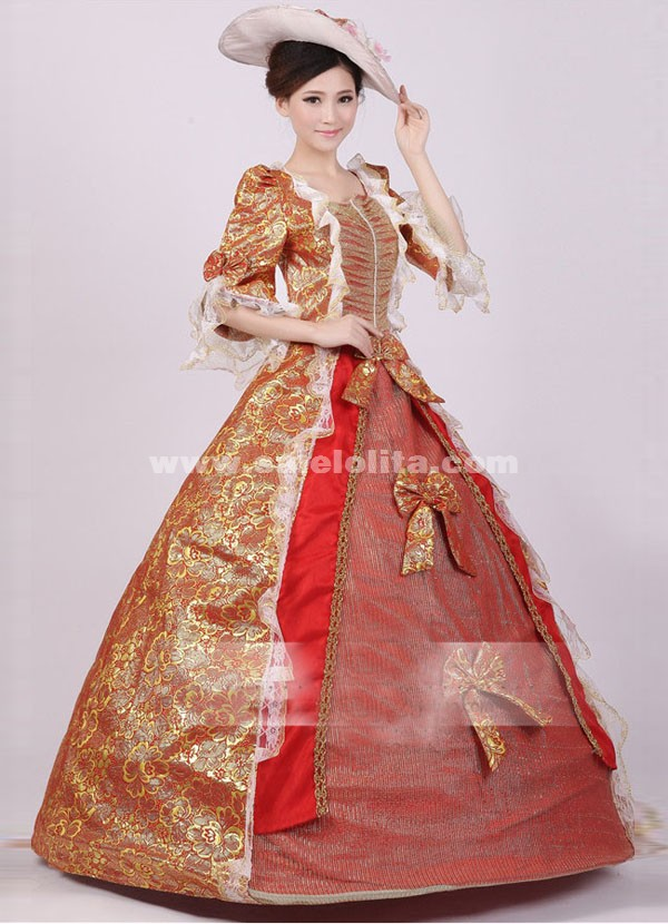 4d86517cf18 Noble Red Gold Print Royal Palace Marie Antoinette Ball Gown