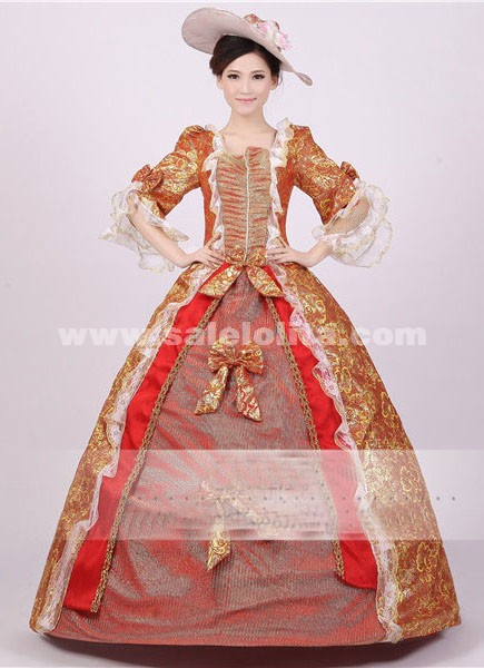 Noble Red Gold Print Royal Palace Marie Antoinette Ball Gown Civil