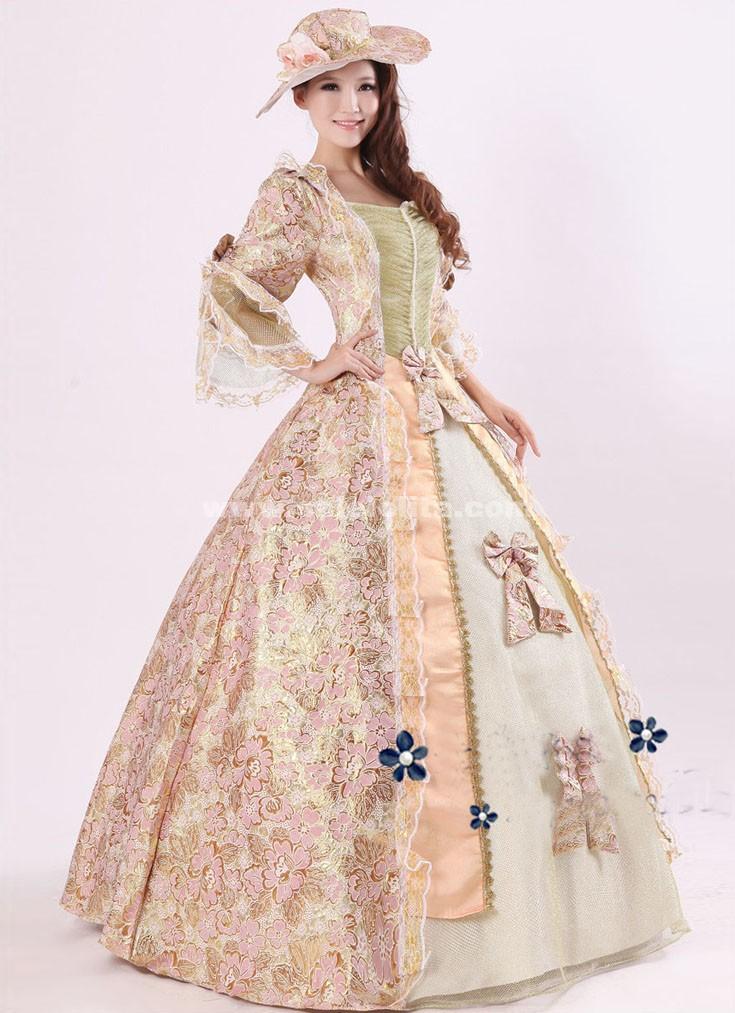 Elegant Pink Print Royal Palace Marie Antoinette Ball Gown,Civil War ...