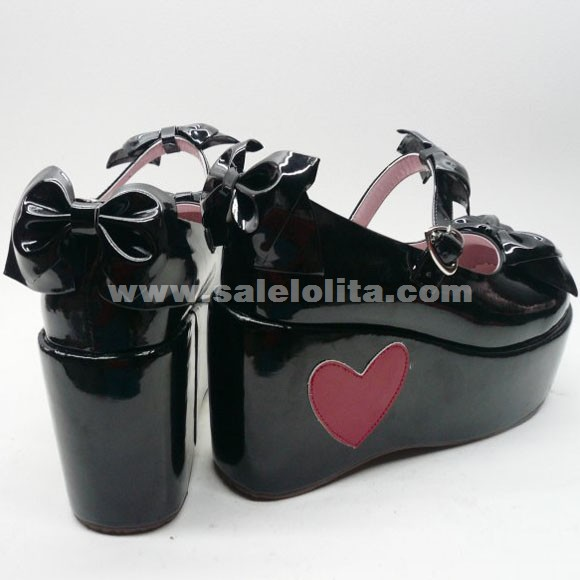 Custom Black Love Princess Peach And Bowknot Lolita Shoes