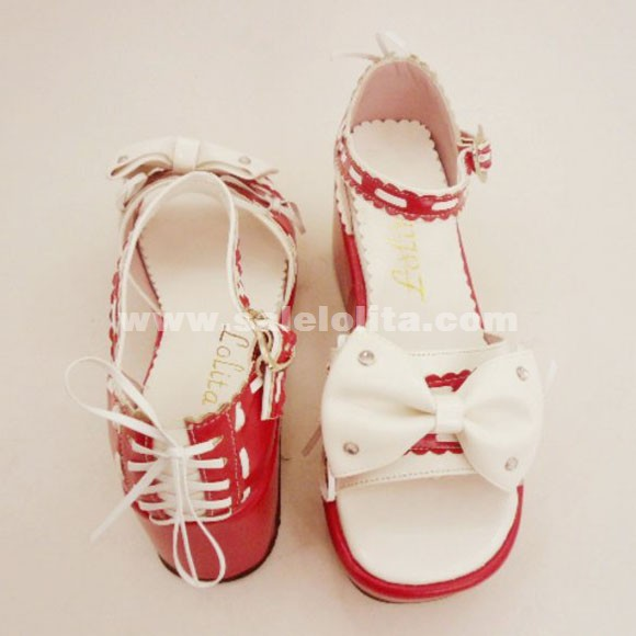 Custom Red Lolita Bow Sandals Shoes