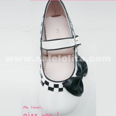 Custom Cute Black And White Plaid Bow Princess Lolita Shoes