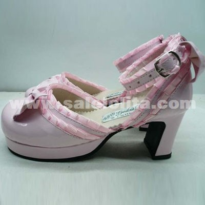 Summer/Autumn Pink Bow Lolita Shoes