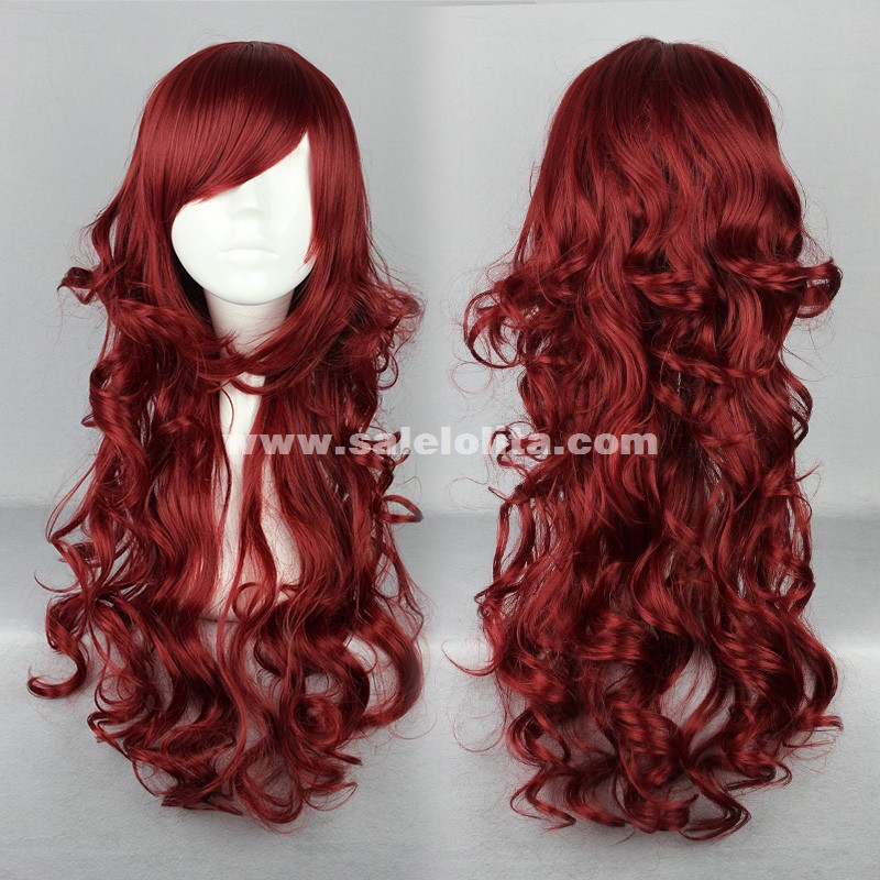 Cosplay Harajuku Lolita Wig,Dark Red Long Curly Hair