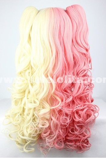 Japanese Harajuku Lolita Wig,Red Mixed Yellow Cute Twin Tail Cosplay Hair
