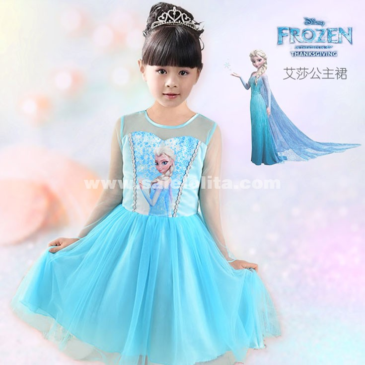 Kid's Frozen Queen Dress,Snow And Ice Colors Of ELSA Princess Dress For Kids