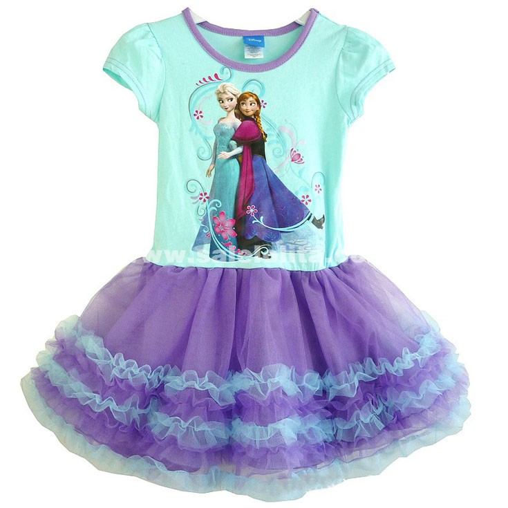 Children's Disney Frozen Elsa Print Short Sleeve Princess Ball Gowns Kids Frozen Elsa Pattern Dress